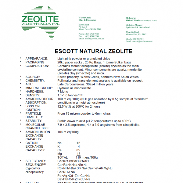 Zeolite Technical Properties